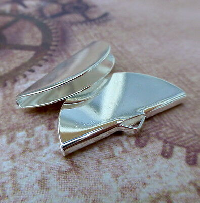 Pack of 10 Silver Plated Ribbon Crimps Half Round Ribbon Ends Jewellery findings
