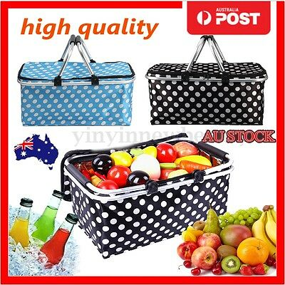 30L Outdoor Aluminum Foldable Thermal Insulated Picnic Storage Zip Basket Bag AU