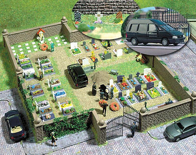 CEMETERY with RENAULT ESPACE HEARSE 1/87 / HO scale plastic model Busch