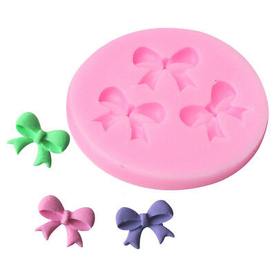 3Bow Ribbon Flower Silicone Mould Fondant Icing Cake Cupcake Topper Mold DIY