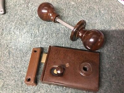Unused Vintage 1930's Art Deco Brown Bakelite Door Rim Lock Keep Knob -BK333-