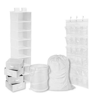 White - Back to School Room and Laundry Organizer kit (8-Piece)