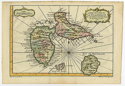 Antique Print-GUADELOUPE-WEST INDIES-CARIBBEAN-MARI GALANTE-Bellin-c. 1757
