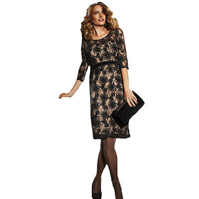 NEW Ladies M&S Lace Dress Party RRP £75 Long Sleeve Black Size 14 Cruise Prom