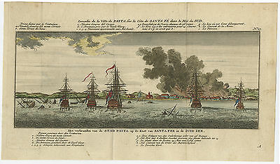 Antique Print-SEA BATTLE-BURNING OF PAITA-PERU-COLOURED-Anson-c. 1765