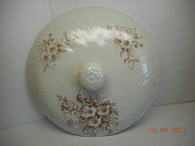 antique chamber pot lid w brown floral transferware on white ironstone