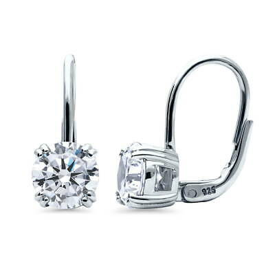 BERRICLE Sterling Silver CZ Solitaire Leverback Dangle Drop Earrings 2.56 Carat