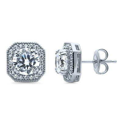BERRICLE Sterling Silver Round Cut CZ Halo Art Deco Stud Earrings