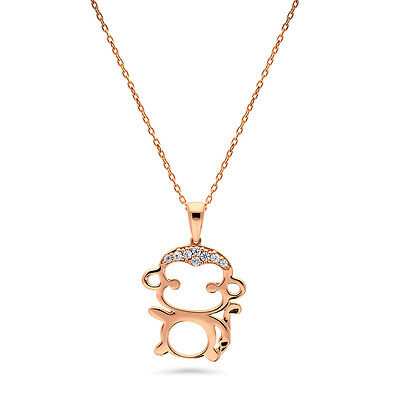 BERRICLE Rose Gold Flashed Sterling Silver CZ Monkey Fashion Pendant Necklace
