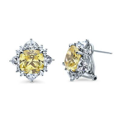 BERRICLE Sterling Silver Cushion Cut Yellow CZ Halo Flower Fashion Stud Earrings