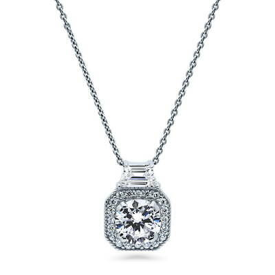 BERRICLE Sterling Silver Round Cut CZ Halo Art Deco Pendant Necklace