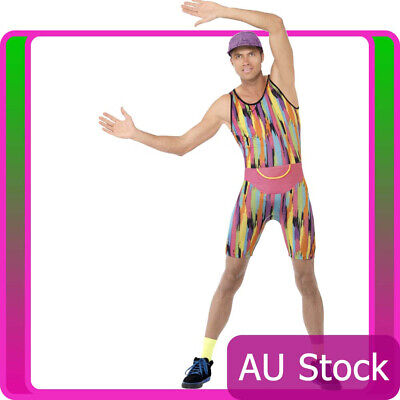 Mens Mr Energizer 80s 90s Retro Costume TV Celeb Festival Party Fitness Jumpsuit