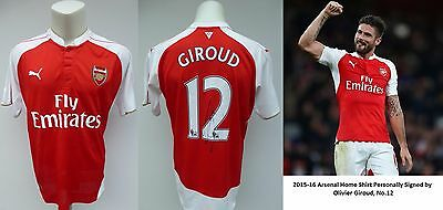 2015-16 Arsenal Home Shirt Signed by Olivier Giroud, No.12 (10405)