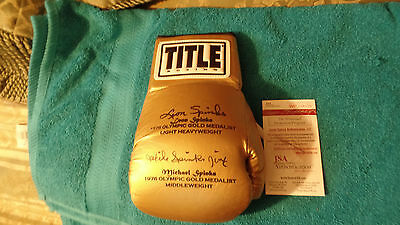 Leon & Michael Spinks  autographed Gold Medal boxing glove Glove JSA Cert GREAT