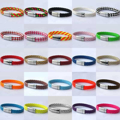 Stainless Steel Metal Leather Braided Bracelet Rope Chain Mens Bangle Full Color