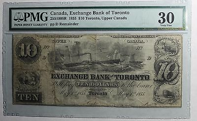 1855 $10 Exchange Bank of Toronto Remainder