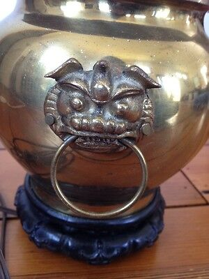 Vtg Asian Chinese Foo Dog Dragon Ginger Jar Shiny Brass Table Lamp AS-IS Parts