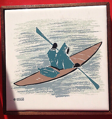 Innuit in Canoe by Mika Vintage framed ceramic wall tile by Frontera, Canada