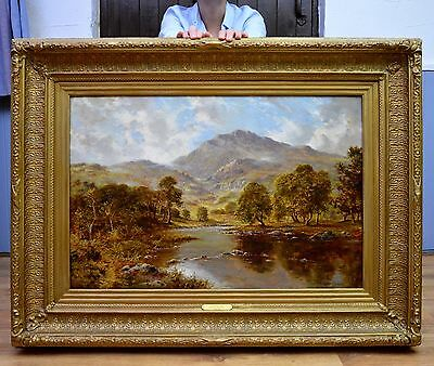 Fine Large Landscape Oil Painting of North Wales River & Mountains in Summer