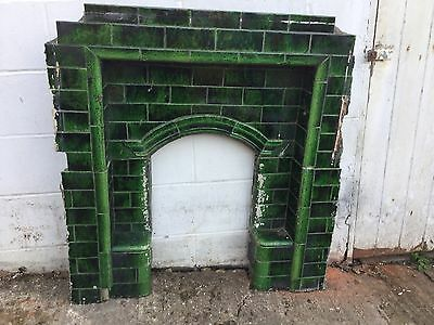 Victorian Green tiled fireplace