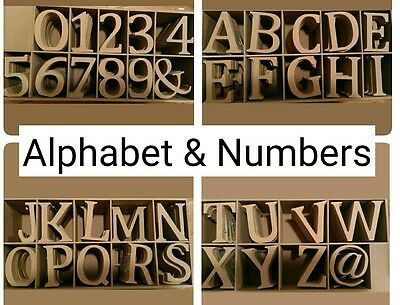 MDF ALPHABET LETTERS & NUMBERS, NUMERALS 8cm height BUY 5 for £5.25 plus P&P