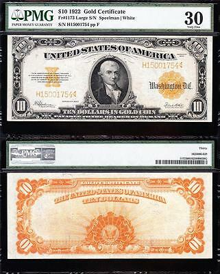 AWESOME Bold & Crisp VF+ 1922 $10 *GOLD CERTIFICATE*! PMG 30! FREE SHIP 15001754