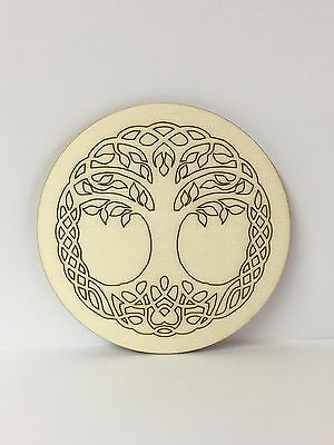 Handcrafted Wooden Altar Tile with the Tree of Life ~ Cauldron ~ Ritual ~ Wicca