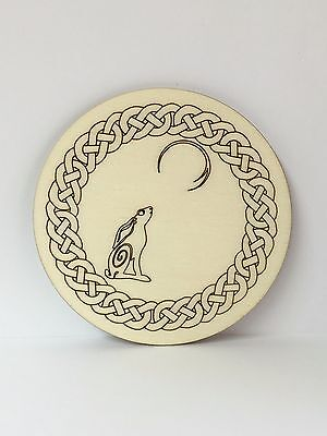 Handcrafted Wooden Altar Tile with Celtic Hare and Moon ~ Cauldron ~ Ritual