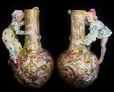 Fabulous Pair French Old Paris Figural Vases Early 19th Century.