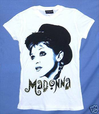 Madonna! Mime Young Face Pic Wht Babydoll T-Shirt L New
