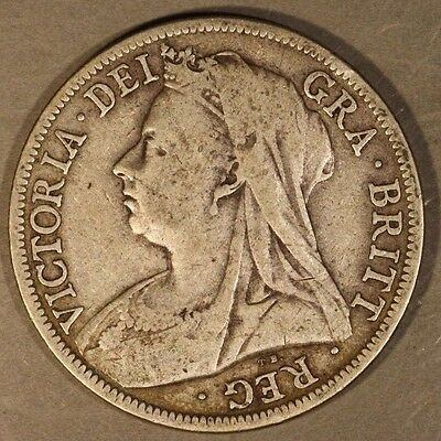 1898 Great Britain Half Crown Silver Old Cleaning      ** FREE U.S. SHIPPING **