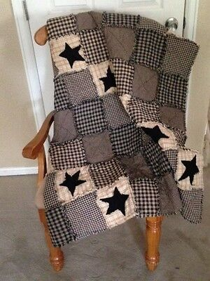 NEW Plaid Homespun PriMiTivE Rag Quilt Black Tan Stars Throw Country Handmade