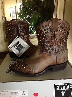 1f4a1086ecf FRYE Women s Billy Studded Short Brown Leather Cowboy Western Boot 6M MSRP   387