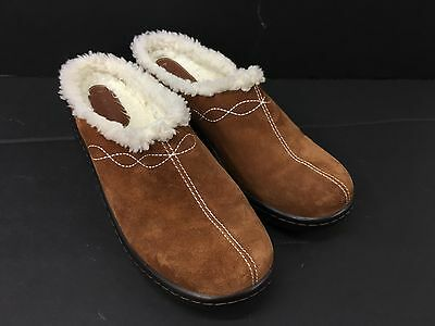 Naturalizers Brown Brushed  Leather Clogs Women's Size 11 M Mules Low Platform