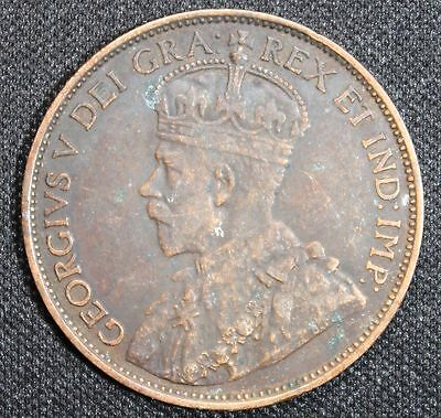 1912 Canada Cent Canadian 1 cent coin some toning lots of detail 108