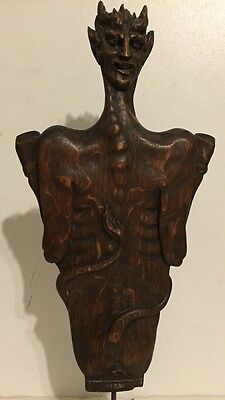 Fine Quality Antique Figural Devil Demon Satan Wood Carving