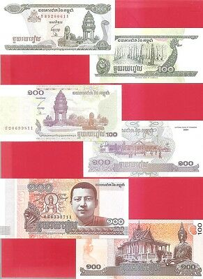 CAMBODIA pN 100 riel - 3 different type - 1998 2001 2014 - Set of 3 Uncirculated