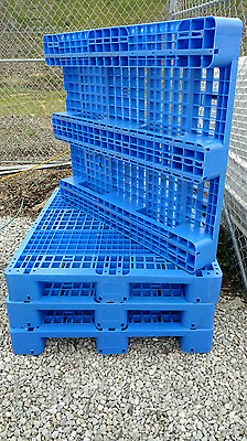 48 Inch x 40 Inch used rackable heavy duty thick plastic blue pallets GMA Qty 10