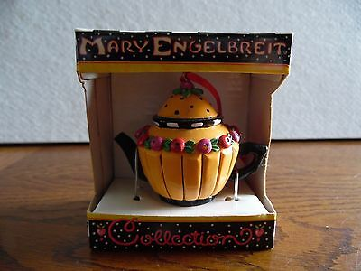 Vintage Mary Engelbreit Colorful Decorated Teapot Ornament