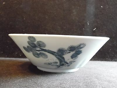 Vintage Blue & White Pottery Asian Boy Trees Bowl Made In Japan