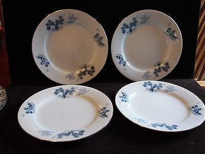 4 Vintage Blue & White Pottery Asian Boy Trees Plates Made In Japan 8 1/4