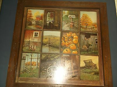Large Rustic  Look 12 Panel Country Theme Pictures Vintage