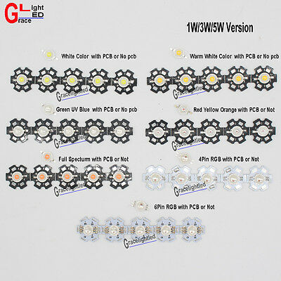 1W 3W 5W Watt High Power LED SMD Chip Beads White Royal Blue Red RGB With PCB