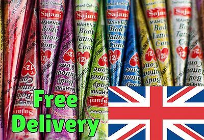 12 x Sajani Glitter Henna Gel Cones Sparkly Mehndi Mendi Body Tattoo ✓ UK Stock