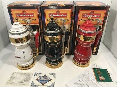 Budweiser Draught Tower Steins Complete Set Signed By August Busch Iii