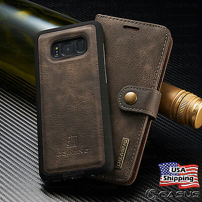 For Galaxy S10/S9/S8/S7/Note 8 Leather Removable Wallet Magnetic Flip Case Cover