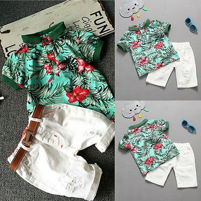 Toddler Kids Baby Gentlemen Boy Clothes Floral T-shirt Tops+Shorts Outfits Set