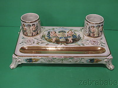 R Capodimonte Desk Inkwell Set Gold Putti  Italy