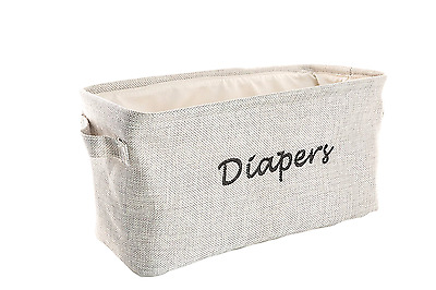 Dejaroo Baby Diaper Storage Bin - Nursery Organizer Caddy - Embroidered Eco-frie