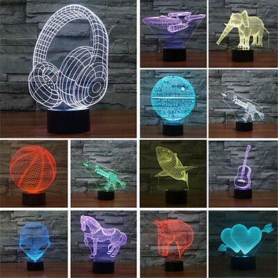 3D 7-Color Chang Illusion Night Light USB LED Lamp Room Desk Decor Touch Switch
